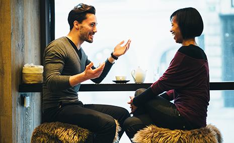 interracial couple flirting