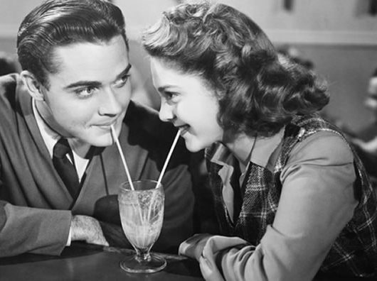 retro couple on a date